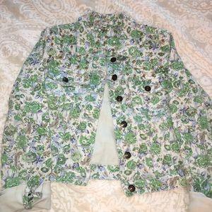 Short flower design jean jacket